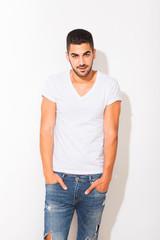 handsome man in white tshirt