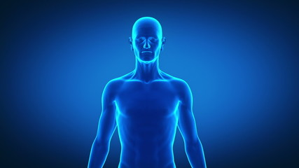 Aging man in time lapse front view with alpha channelx-ray blue
