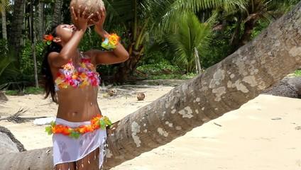 woman drinking fresh coconut