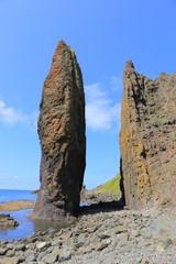 Strangely shaped rock at Rebun island, Hokkaido, Japan