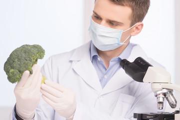 green broccoli in genetic engineering laboratory.