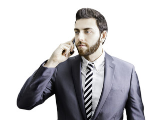 Young businessman on the phone isolated on white background