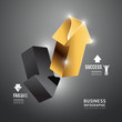 Gold arrow Infographic  Template.Business Concept Vector