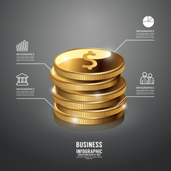 Gold Coin Infographic Business Template. Concept Vector Illustra