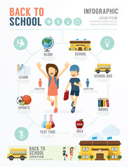 Education School Template Design Infographic . concept vector