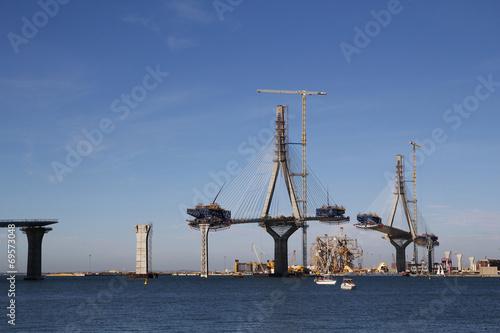 Leinwanddruck Bild Bridge on construction