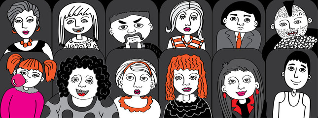 People in the audience cinema vector illustration