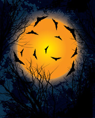 Halloween moon night background illustration