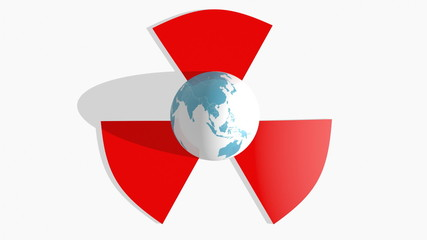world map textured sphere in center of nuclear danger sign