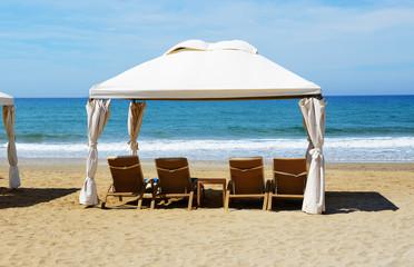 The beach at luxury hotel, Crete, Greece