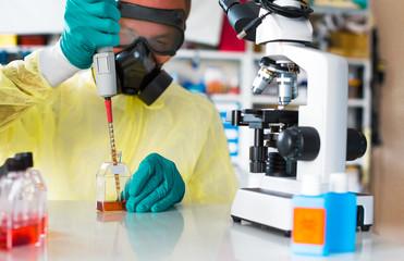 ebola virus biopharmaceutical drug research in  biochemical lab