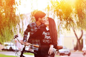 Beautiful couple in love outdoor