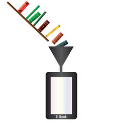 An Electronic Book being filled with books