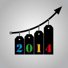 Sales bring growth in 2014 - black hanging ribbons