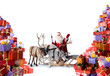 Santa Claus with his reindeer and gifts
