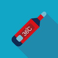 medical thermometer Flat style Icon with long shadows