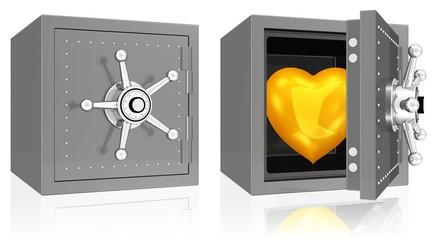 goldenes Herz im Tresor
