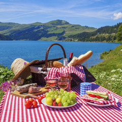 Picnic in alpine mountains