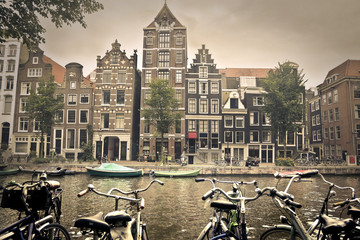 grey day in amsterdam city