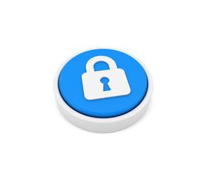Blue button closed lock