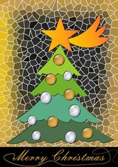 Christmas three on mosaic background