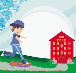 happy boy on a skateboard near school