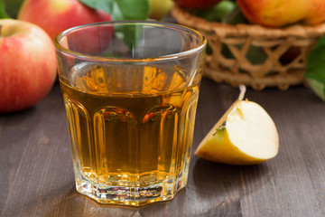 autumn drink - apple cider or juice in a glass