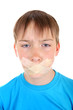 Sad Kid with Sealed Mouth