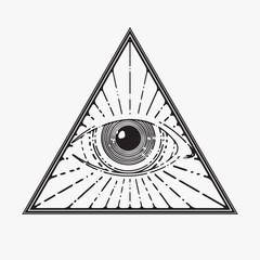 All seeing eye symbol, vector illustration