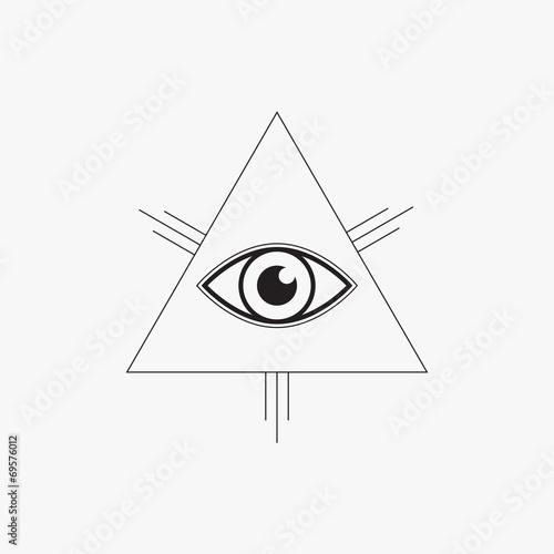 All seeing eye symbol, line design, vector illustration