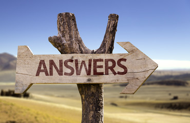 Answers wooden sign with a desert background