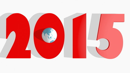 3d 2015 new year number with sphere textured by world map