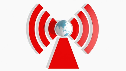 earth globe rotate in wi fi symbol