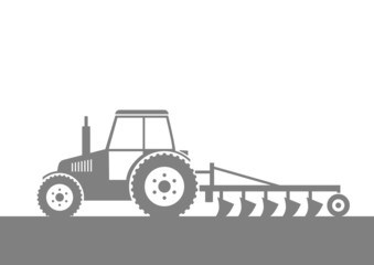 Grey tractor on field
