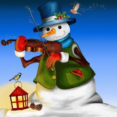 pupazzo di neve con violino e lanterna