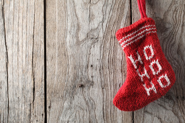 Christmas sock on wood