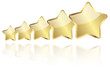 5 golden stars with reflection in a row