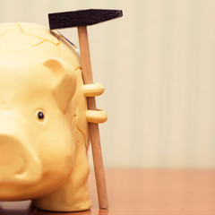 closeup of piggy bank with hammer