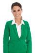 Attraktive junge Geschäftsfrau mit Blazer in Grün