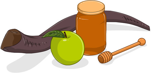 Honey Jar Apple And Shofar For Yom Kippur