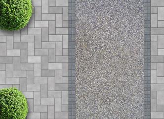 Pflastersteine mit Kiesweg von oben