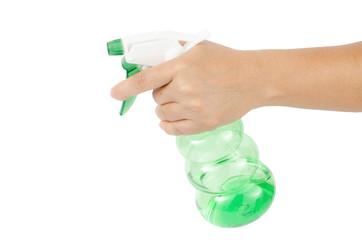Hand holding plastic spray