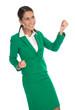 Geschäftsfrau in grün isoliert: jung, erfolgreich und dynamisch