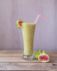 fig and banana smoothie on wooden table