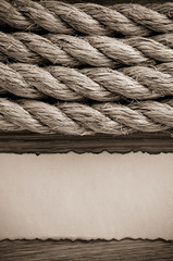 ropes and old  paper at wood