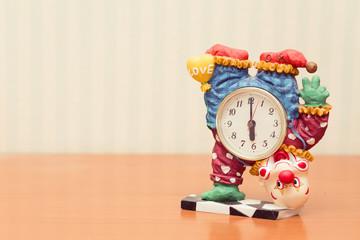 clown clock, vintage look.