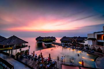 Sunset at floating resort
