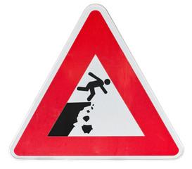 panneau danger, falaise instable, risque de chutes