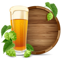 Glass of beer, barrel and hops
