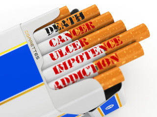 Smoking kills. Cigarette pack with text cancer and death.
